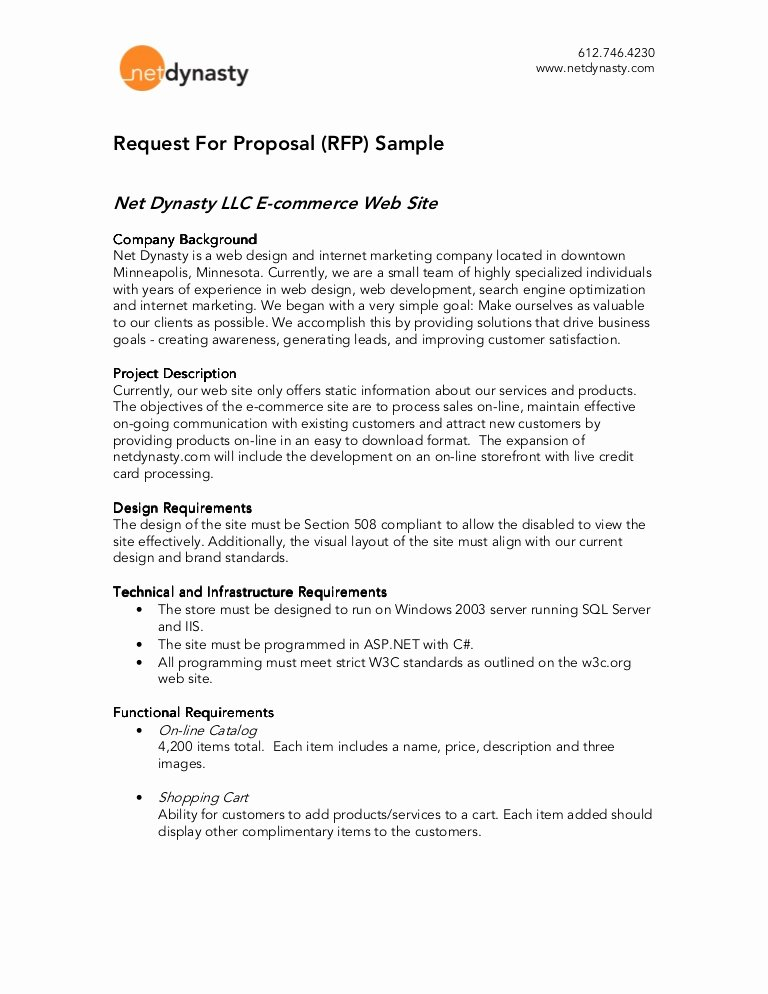 Response to Rfp Template Awesome Net Dynasty Rfp Sample