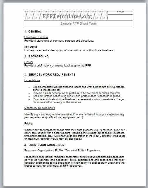 Response to Rfp Template Inspirational Short form Rfp Sample Rfp Templates Rfp Templates