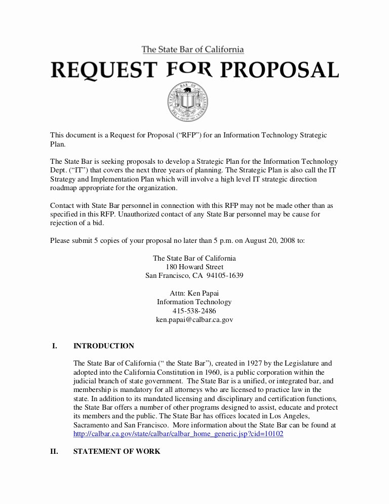 "Response to Rfp Template Unique This Document is A Request for Proposal ""rfp"" for An"