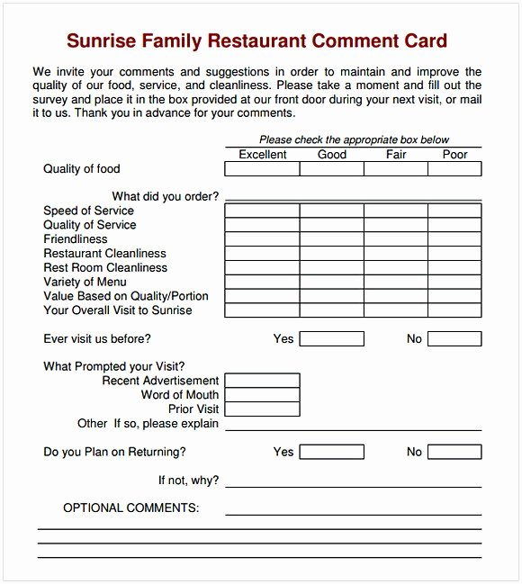 Restaurant Comment Card Template Awesome Ment Card Template