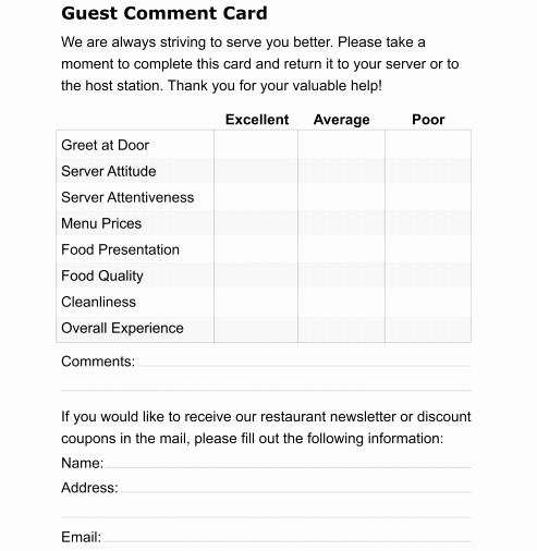 Restaurant Comment Card Template Beautiful 5 Restaurant Ment Card Templates formats Examples In