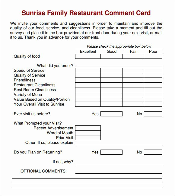 Restaurant Comment Card Template Beautiful Free 10 Ment Cards In Illustrator Ms Word