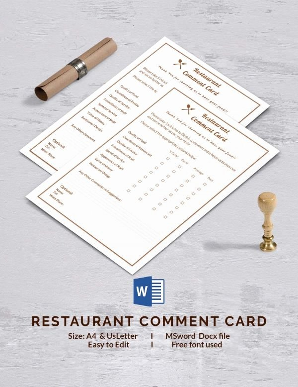 Restaurant Comment Card Template Best Of Restaurant Ment Card Ment Cards