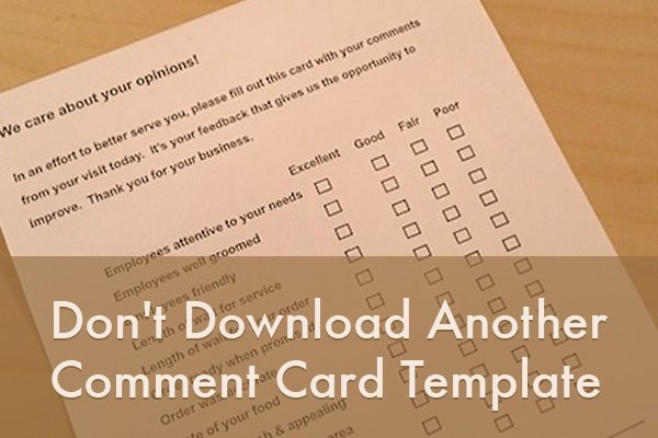 Restaurant Comment Card Template Elegant Don T Download Another Ment Card Template