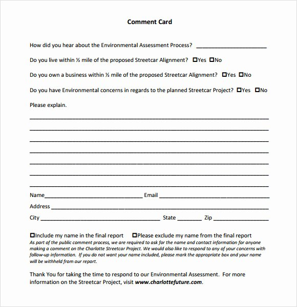 Restaurant Comment Card Template Inspirational Ment Card Template 9 Download Free Documents In Pdf