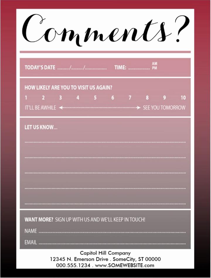 Restaurant Comment Card Template Luxury 10 Restaurant Guest Ment Card Designs & Templates