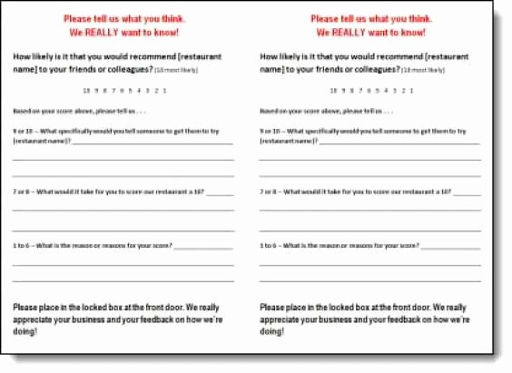 Restaurant Comment Card Template New 5 Restaurant Ment Card Templates Free Sample Templates