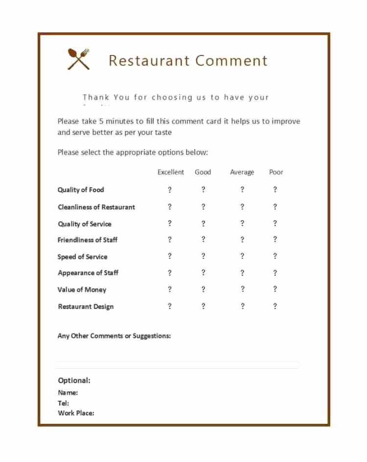 Restaurant Comment Card Template New 9 Restaurant Ment Card Templates Free Sample Templates