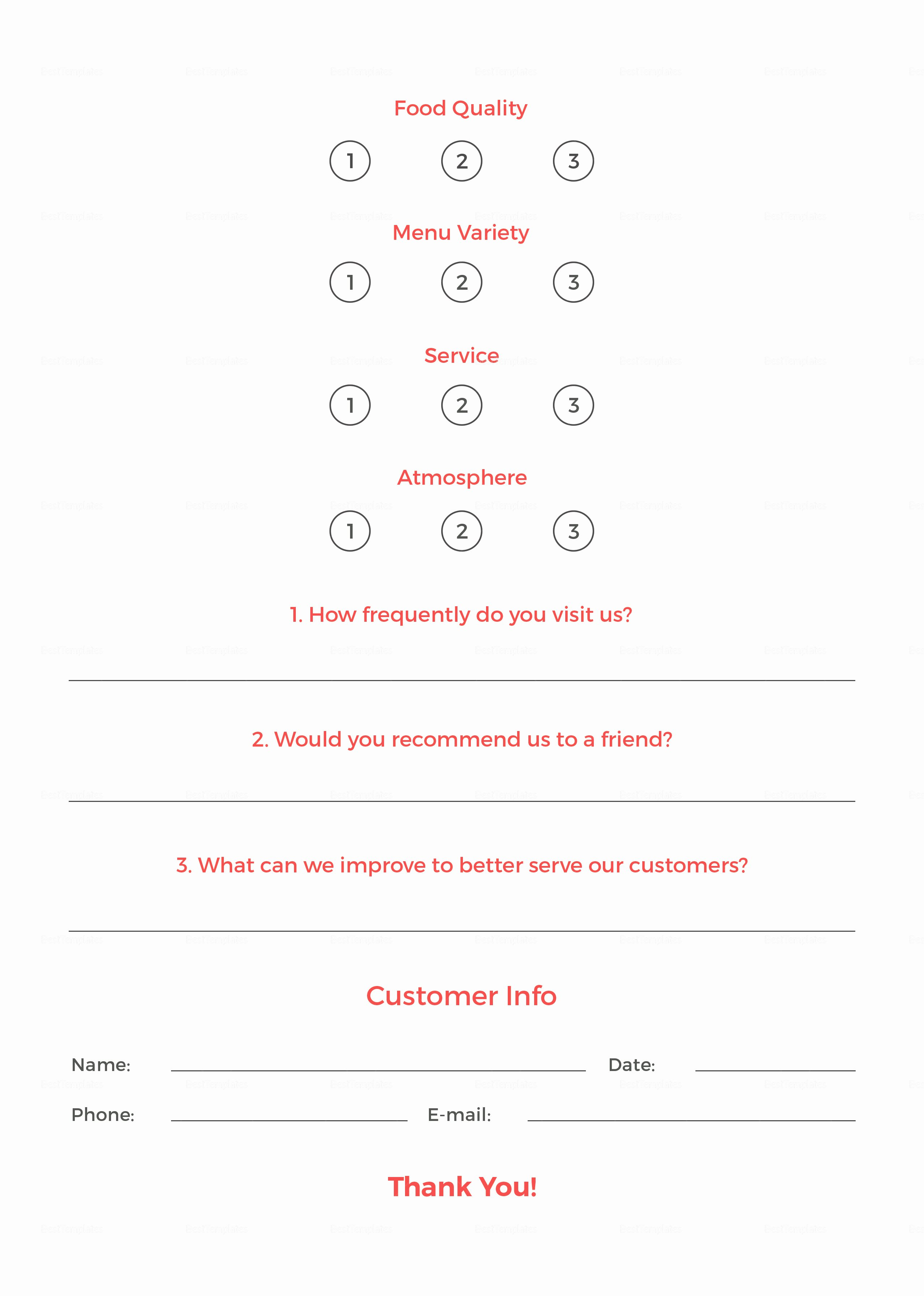 Restaurant Comment Card Template New Restaurant Customer Ment Card Template In Psd Word