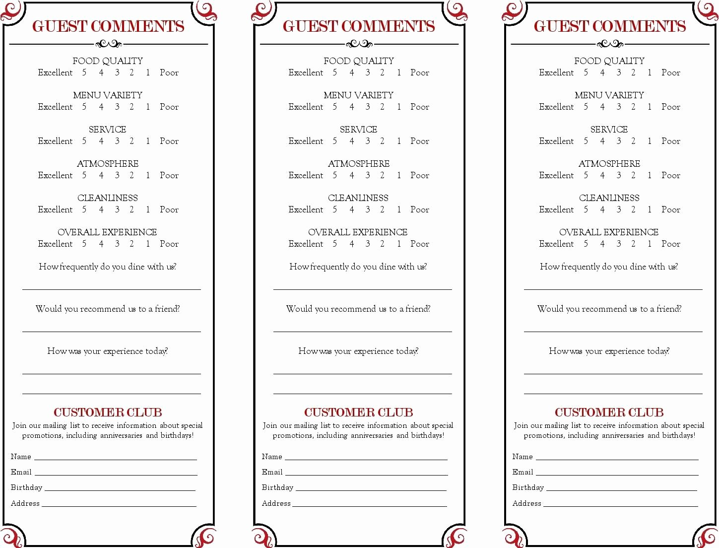 Restaurant Comment Card Template New Restaurant Ment Card Google Search