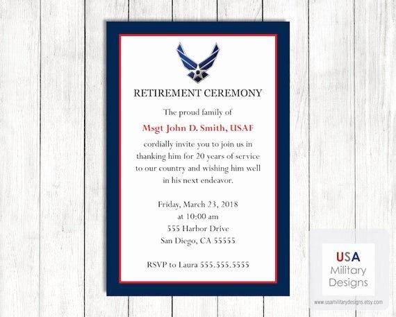 Retirement Ceremony Program Templates Luxury Air force Retirement Ceremony Invitation Printable Us Air