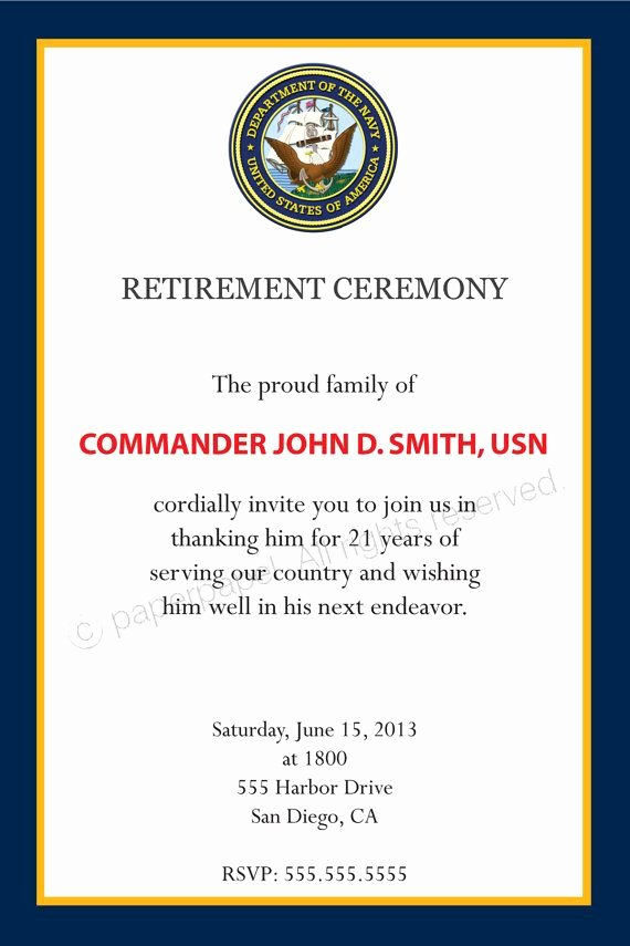 Retirement Ceremony Program Templates New Military Retirement Ceremony by Paperpapelshop On Etsy $8