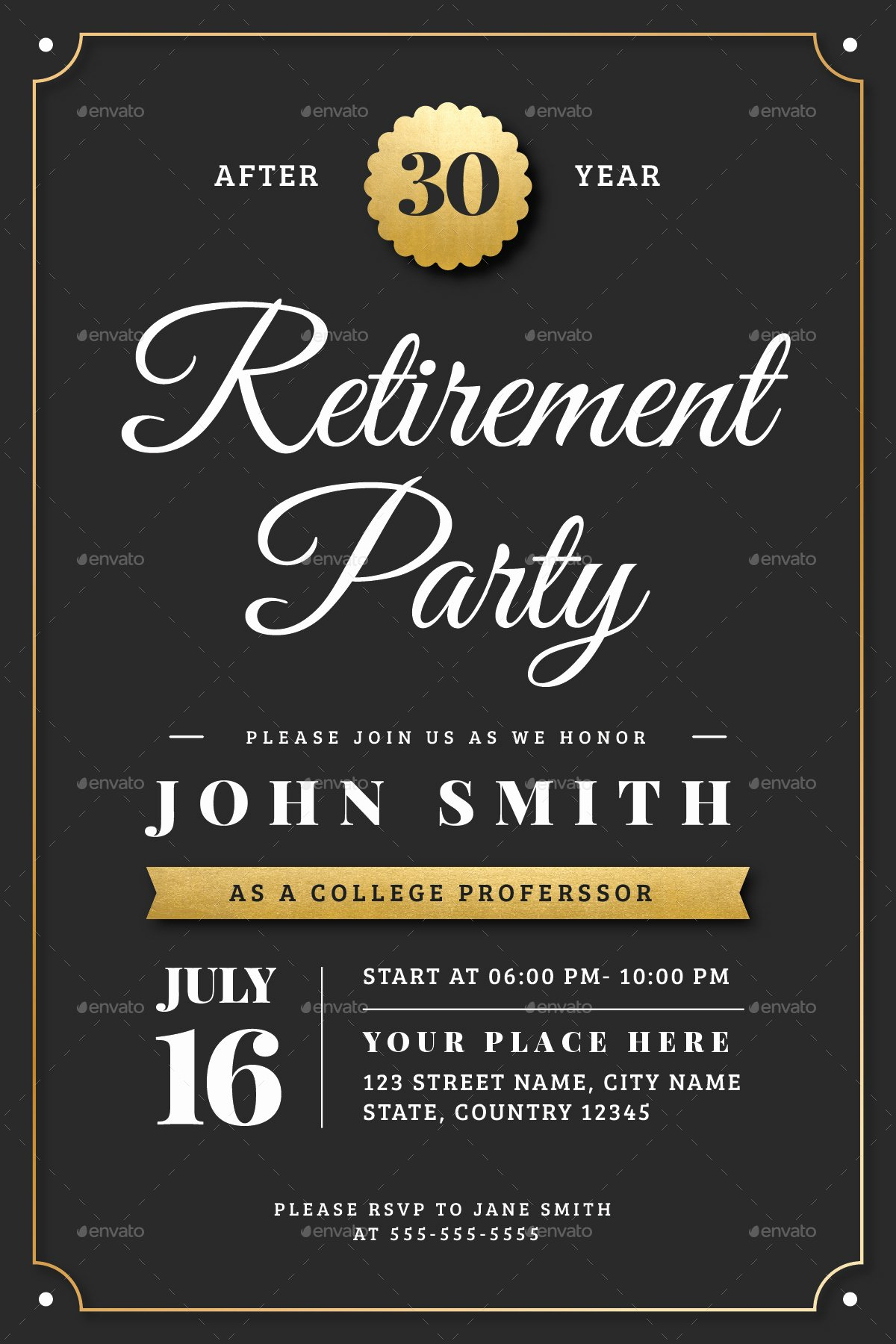 Retirement Party Flyer Template Free Awesome Gold Retirement Invitation Flyer Templates by Vector