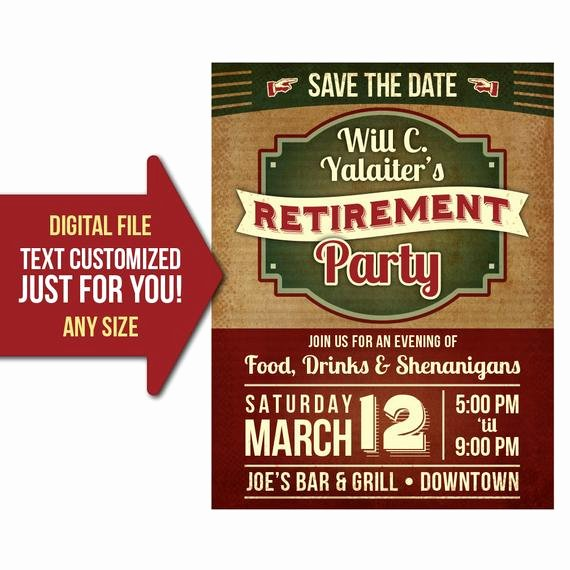 Retirement Party Flyer Templates Awesome Retirement Party event Retro Vintage Retire Party Flyer