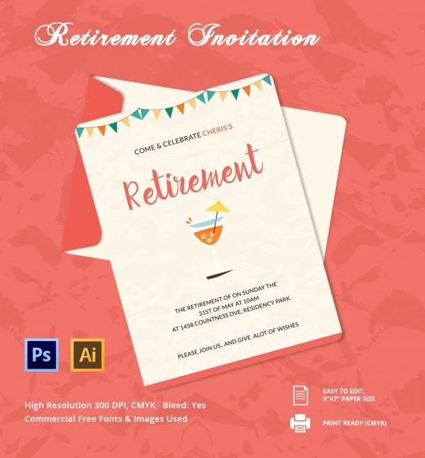 Retirement Party Flyer Templates Fresh Retirement Party Invitation Template 36 Free Psd format