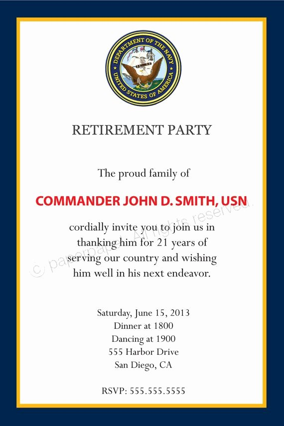 Retirement Party Program Template Fresh Military Retirement Party Invitation All by Paperpapelshop