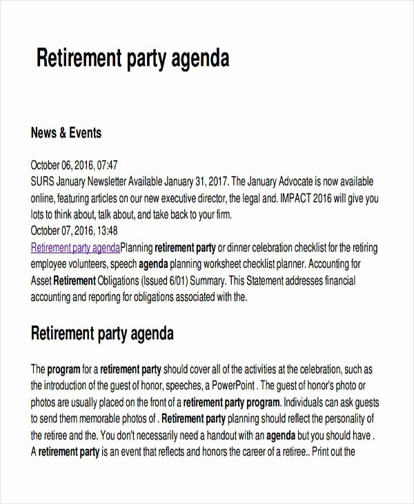 Retirement Party Program Template Lovely Free 17 Party Agenda Examples