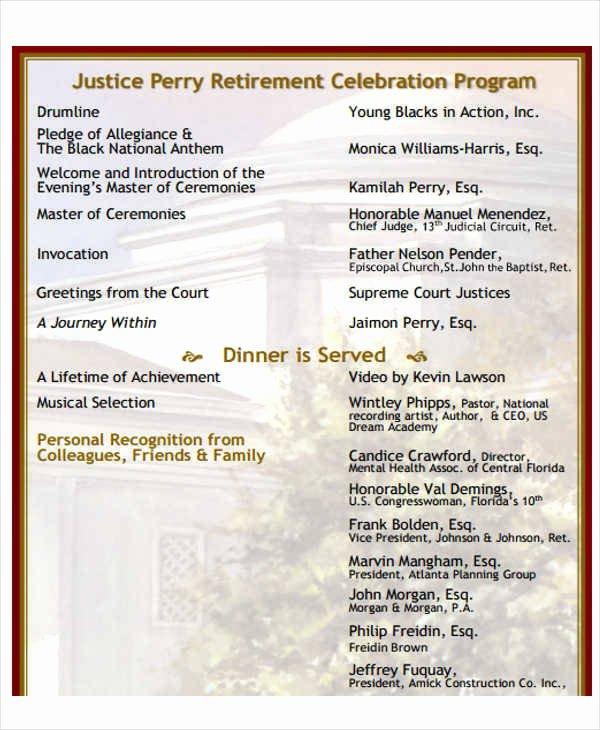 Retirement Party Program Template Unique 7 Retirement Program Samples & Templates In Pdf