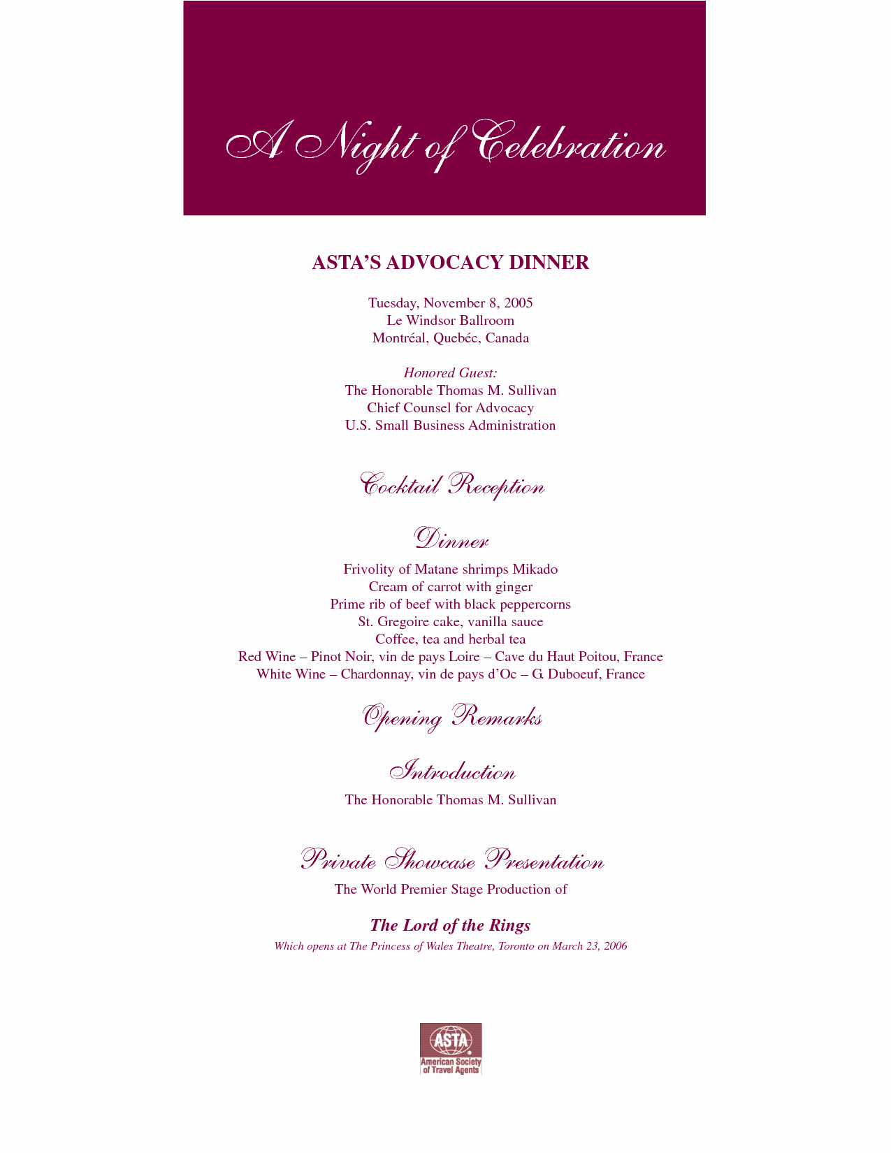 post dinner party program templates