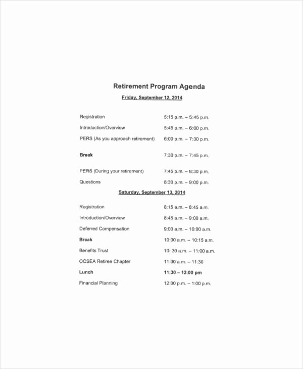 Retirement Party Program Templates Elegant Free 31 Agenda Templates & Examples In Pdf Doc