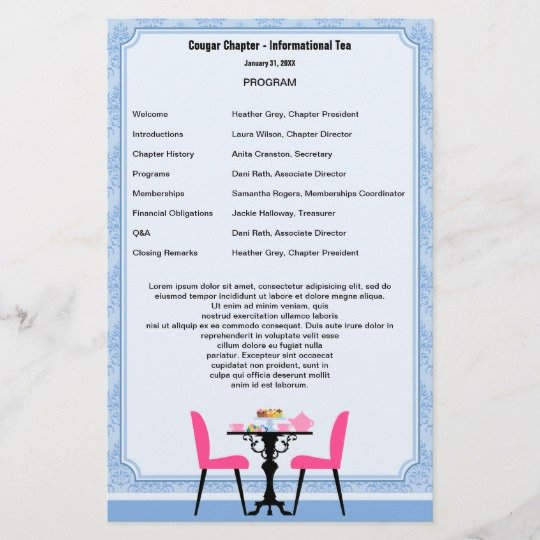 Retirement Party Program Templates Fresh Tea Party Program Template