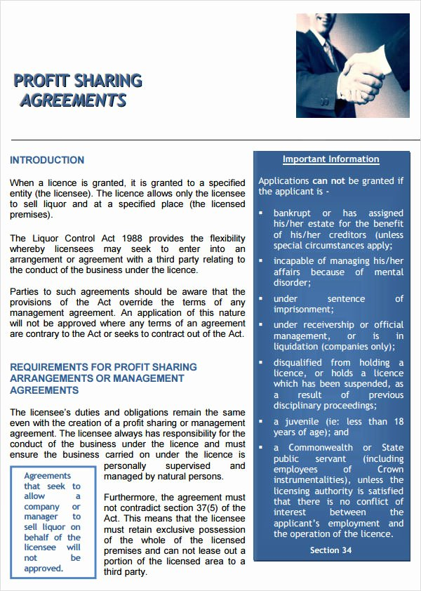 Revenue Sharing Agreement Template Inspirational Profit Sharing Agreement 7 Free Pdf Doc Download
