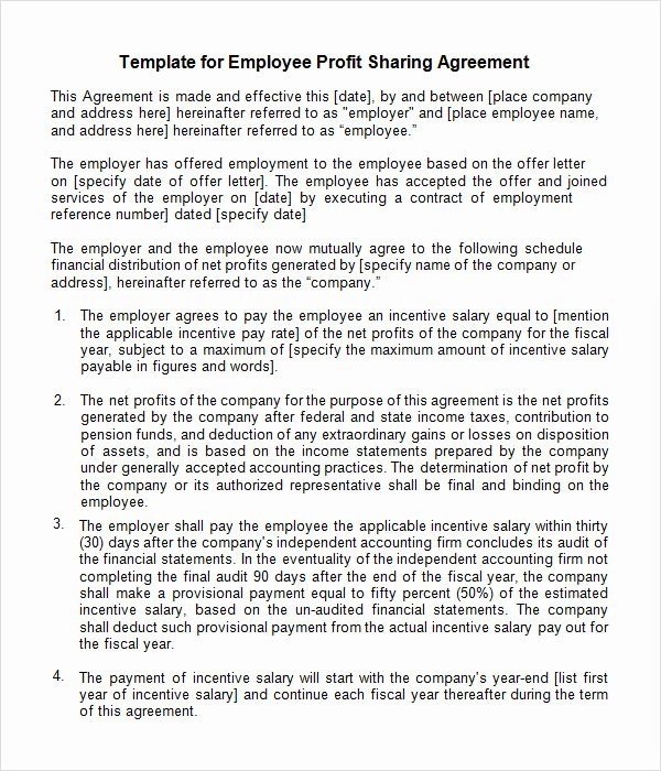 Revenue Sharing Agreement Template New Sample Profit Sharing Agreement 10 Free Documents In