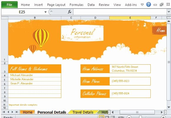 Road Trip Planner Template Inspirational Free Vacation Planner Excel Template