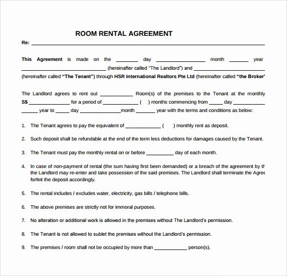 Room Rental Agreement Templates Beautiful Simple Rental Agreement 9 Download Free Documents In