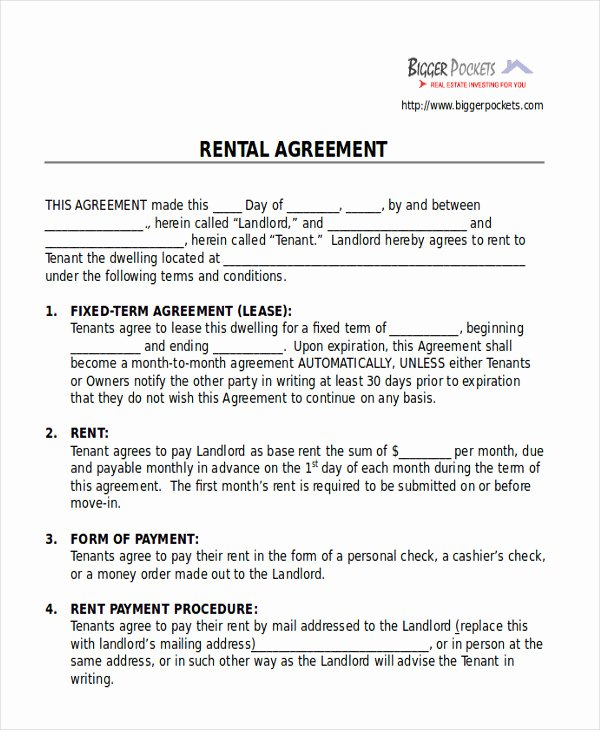Room Rental Agreement Templates Best Of 8 Room Rental Agreement form Sample Examples In Word Pdf