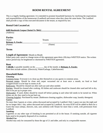Room Rental Agreement Templates Elegant Room Rental Agreement Template Free Download Create