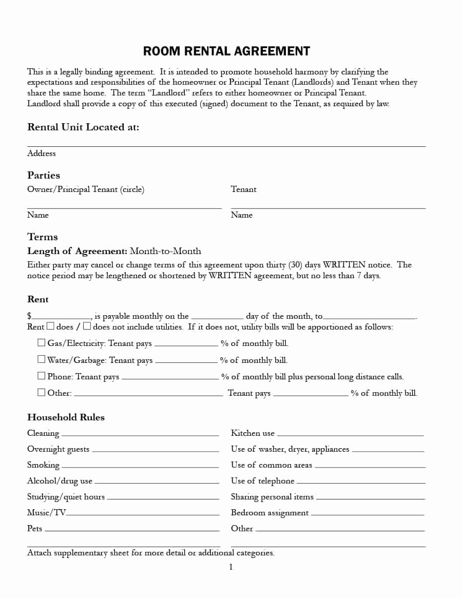 Room Rental Agreement Templates Fresh 39 Simple Room Rental Agreement Templates Template Archive