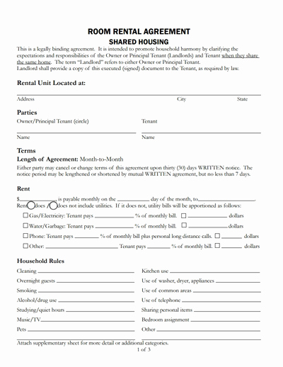 Room Rental Agreement Templates Fresh Room Rental Agreement Template Free Download Create