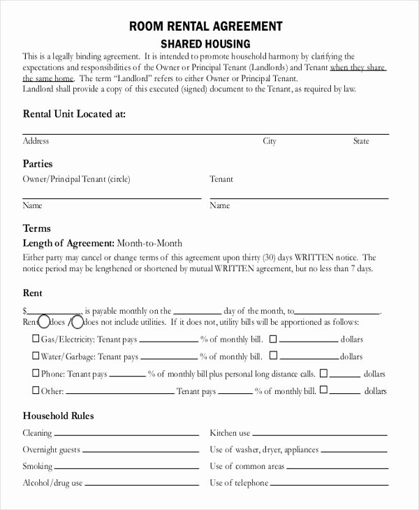 Room Rental Agreement Templates Lovely Room Rental Agreement Doc Template In 2019