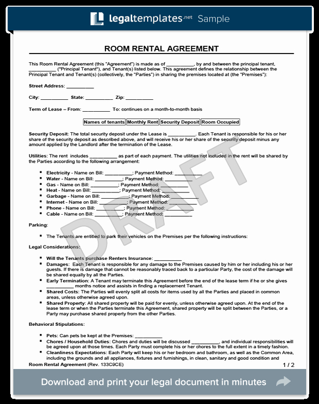 Room Rental Agreement Templates Luxury Room Rental Agreement form
