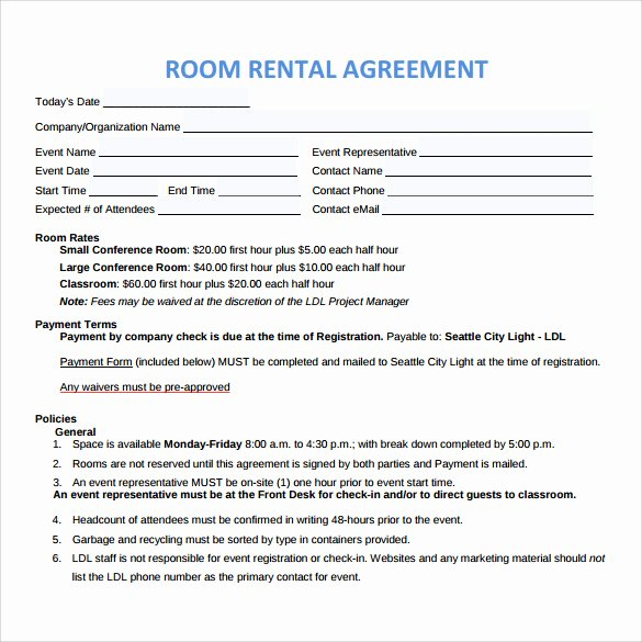 Room Rental Agreement Templates New Sample Room Rental Agreement – 8 Free Samples Examples