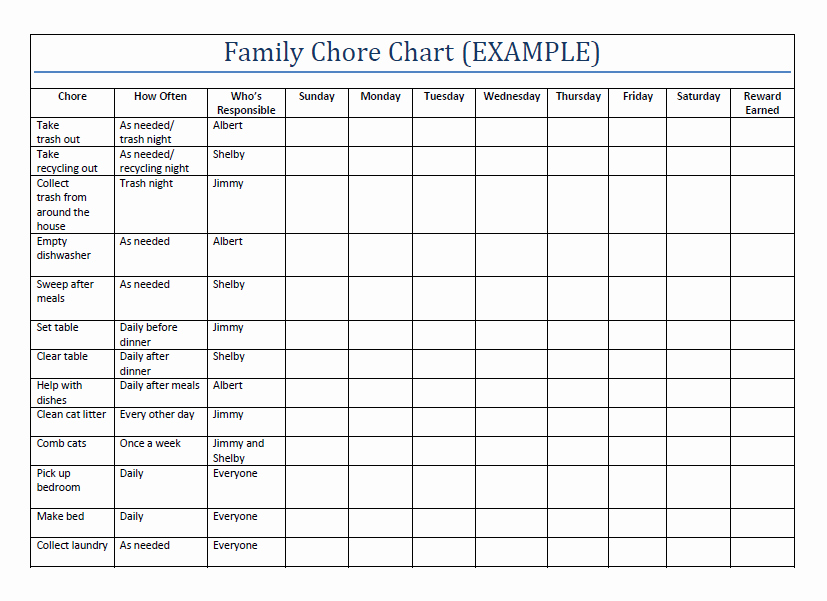 Roommate Chore Chart Template Awesome Household Chore