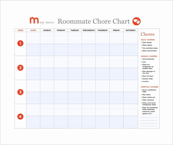 Roommate Chore Chart Template Beautiful Free 5 Sample Chore Chart Templates In Doc