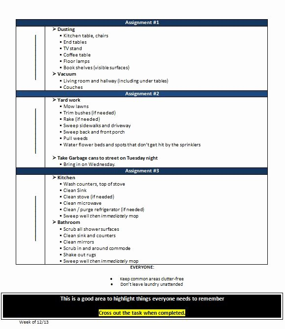 Roommate Chore Chart Template Beautiful Roommate Agreement