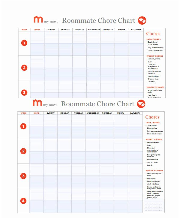 Roommate Chore Chart Template Lovely Printable Roommate Chore Chart