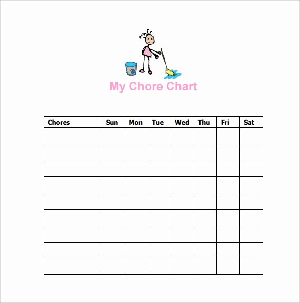 Roommate Chore Chart Template Luxury Sample Chore Chart 9 Documents In Word Excel Pdf