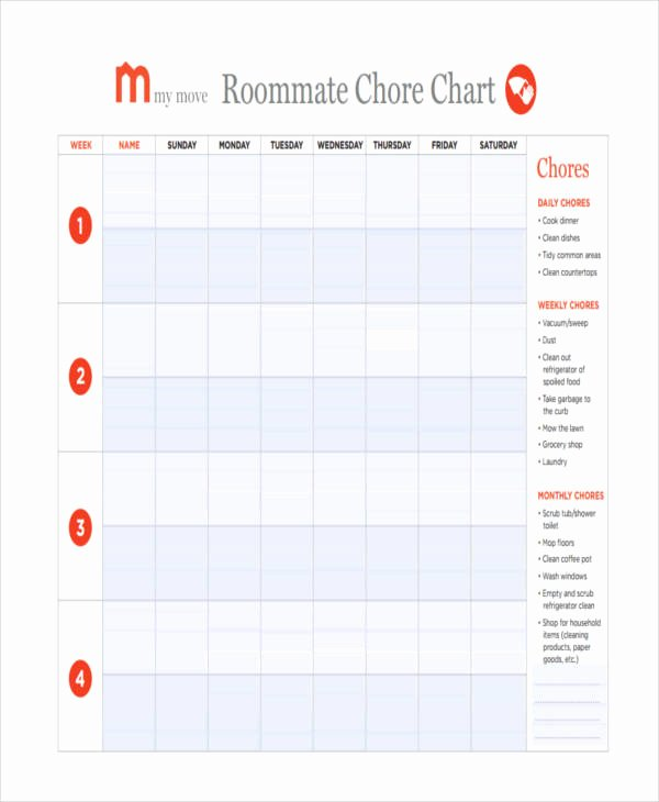 Roommate Chore Chart Template Unique 9 Chore Chart Templates In Pdf