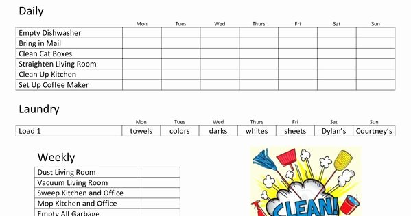 Roommate Chore Chart Template Unique Daily Family Chore Chart Template