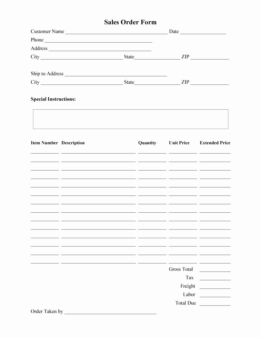 Sale order form Template Best Of 40 order form Templates [work order Change order More]