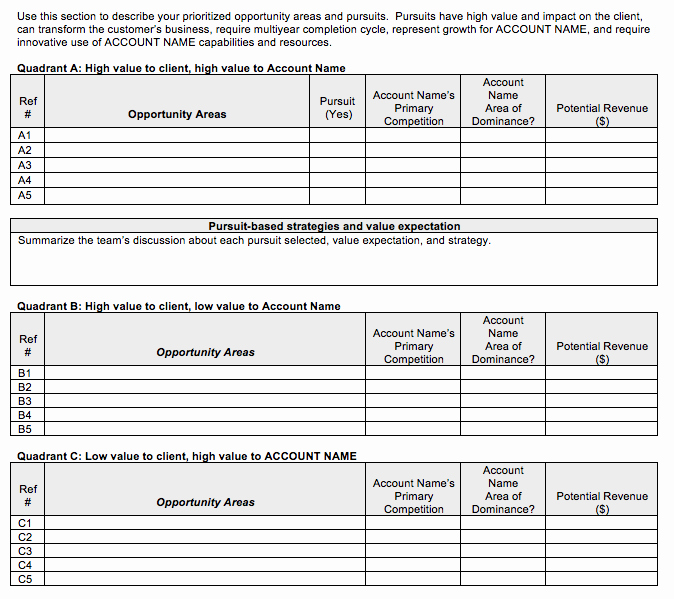 Sales Account Plan Template Awesome Go to Market Strategy Strategic Account Plan Template