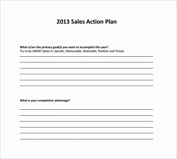 Sales Action Plan Template Beautiful Sample Sales Action Plan 12 Example format