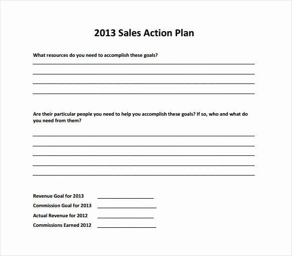 Sales Action Plan Template New Sample Sales Plan 19 Example format