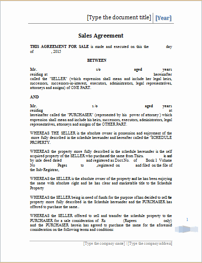 Sales Agreement Template Word Awesome Printable Sales Agreement Template Ms Word