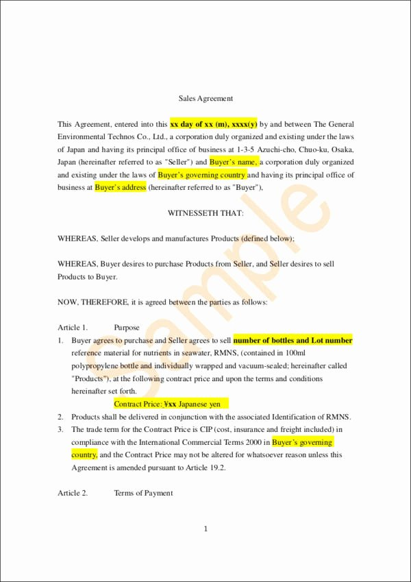 Sales Agreement Template Word Beautiful 25 Sales Contract Template Docs Word