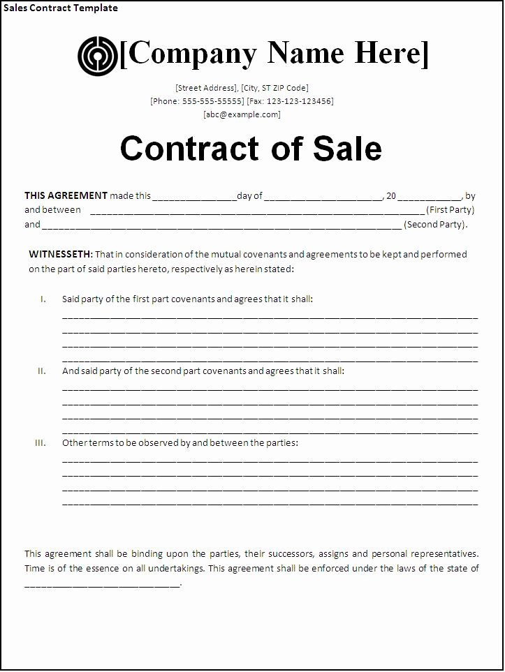 Sales Agreement Template Word Elegant Sales Contract Template